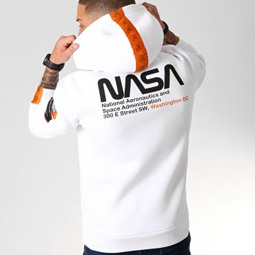 Sweat Capuche Space Exploration Avec Patchs Et Broderie 250 Blanc