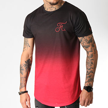 Tee Shirt Oversize Dégradé Avec Broderie 274 Rouge et Noir