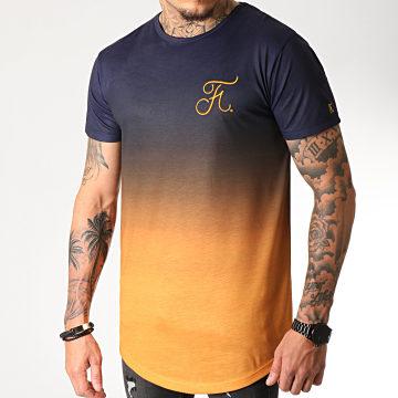 Tee Shirt Oversize Dégradé Avec Broderie 275 Orange Et Bleu Marine
