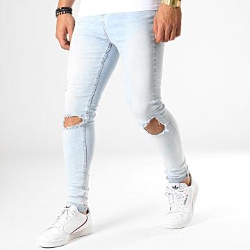 Jean Skinny Ripped Knees Bleu Wash