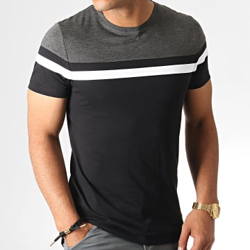 LBO - Tee Shirt Tricolore 801 Gris Anthracite Noir Blanc