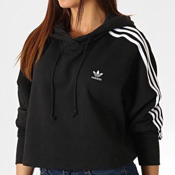 Adidas Originals - Sweat Capuche Femme Avec Bandes Cropped ED7554 Noir