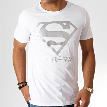 DC Comics - Tee Shirt Superman Japan Blanc Argenté