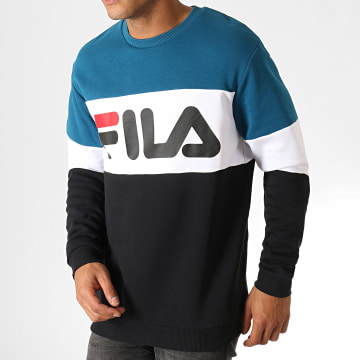 Sweat Crewneck Straight Blocked 681255 Bleu Marine Blanc Noir