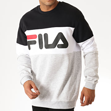 Sweat Crewneck Straight Blocked 681255 Gris Chiné Blanc Noir