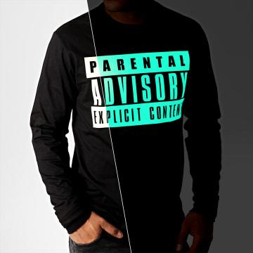 Parental Advisory - Tee Shirt Manches Longues Glow In The Dark Noir