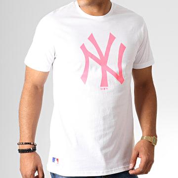 Tee Shirt MLB Core Neon Logo 12070291 Blanc Rose Fluo