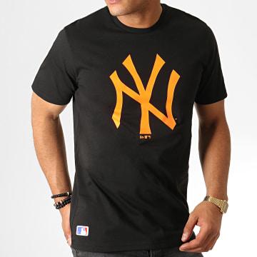 Tee Shirt MLB Core Neon Logo 12070292 Noir Orange Fluo