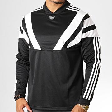 Tee Shirt Manches Longues A Bandes Balanta EE2348 Noir Blanc