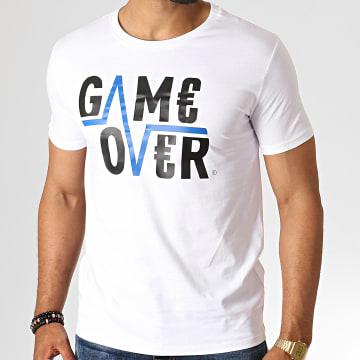 Game Over - Tee Shirt Game Over Blanc Bleu