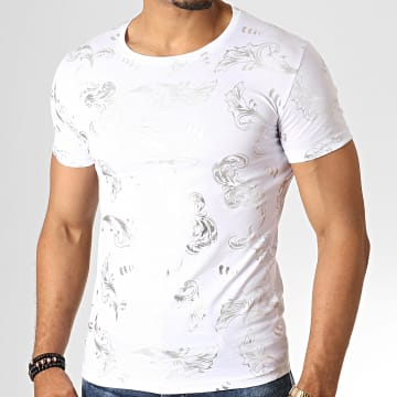 King Off - Tee Shirt KG37 Blanc Argenté