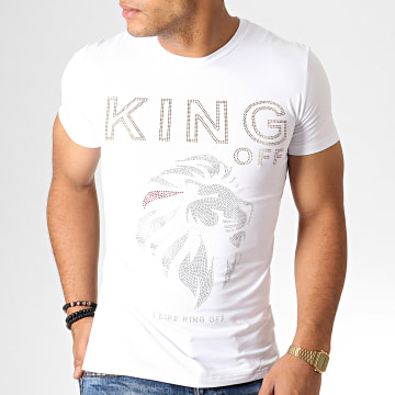 King Off - Tee Shirt Strass A063 Blanc Doré Argenté
