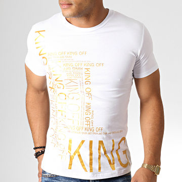 King Off - Tee Shirt A077 Blanc Doré