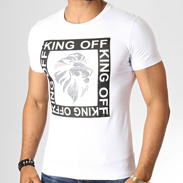 King Off - Tee Shirt Strass A071 Blanc Noir
