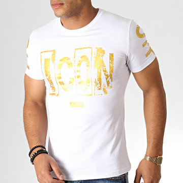 King Off - Tee Shirt A076 Blanc Doré