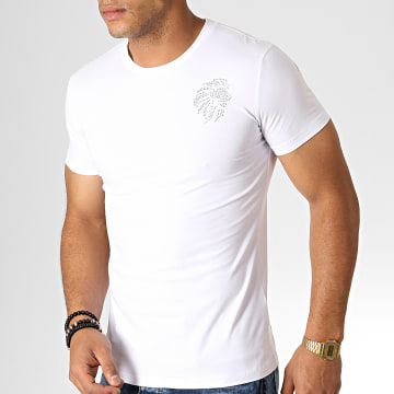King Off - Tee Shirt Strass A065 Blanc Argenté