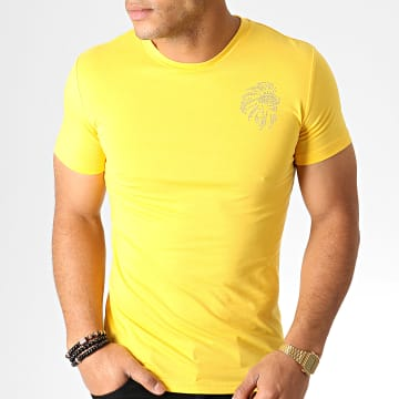King Off - Tee Shirt Strass A065 Jaune Argenté