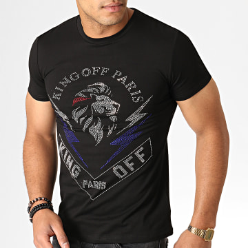 King Off - Tee Shirt Strass A057 Noir Argenté Bleu
