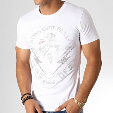 King Off - Tee Shirt A057 Blanc Argenté Rouge