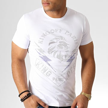 King Off - Tee Shirt A057 Blanc Argenté Bleu