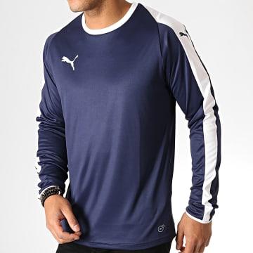 Puma - Tee Shirt Manches Longues Liga Jersey 703419 Bleu Marine Blanc