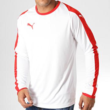 Puma - Tee Shirt Manches Longues Liga Jersey 703419 Blanc Rouge
