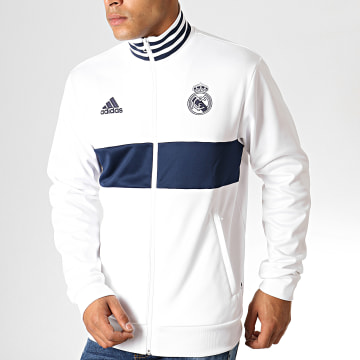Adidas Performance - Veste Zippée Real 3 Stripes DX8708 Blanc Bleu Marine