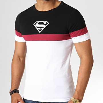 DC Comics - Tee Shirt Tape Tricolore Blanc Noir Bordeaux