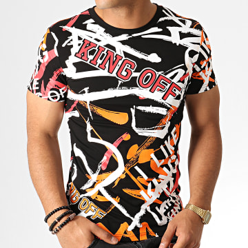 King Off - Tee Shirt A058 Noir Orange Rouge Blanc