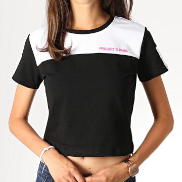 Project X - Tee Shirt Femme F191038 Noir Blanc Rose