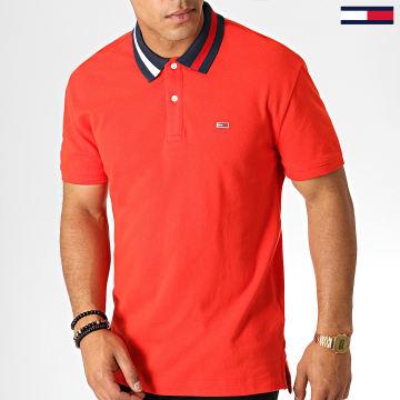 Tommy Jeans - Polo Manches Courtes Flag Neck 6576 Rouge Bleu Marine Blanc