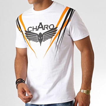 Tee Shirt Scratch WY4768 Blanc Noir Orange