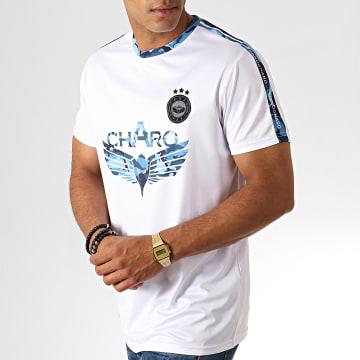 Charo - Tee Shirt A Bandes Camouflage Glitch WY4787 Blanc Bleu Clair Noir