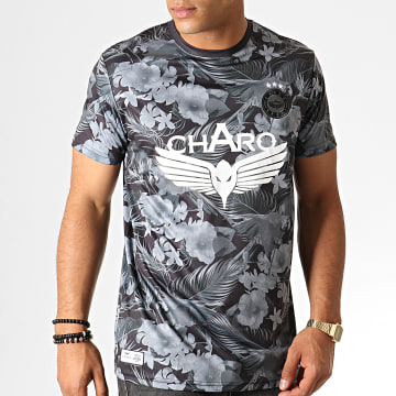 Charo - Tee Shirt Floral Maracana WY4786 Gris Blanc