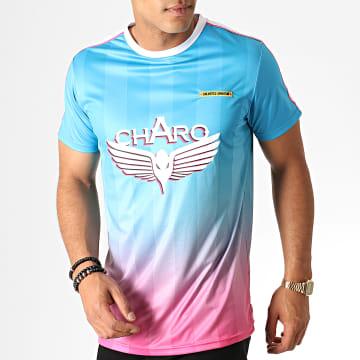 Charo - Tee Shirt A Bandes Avec Dégradé Vice City WY4783 Bleu Rose Blanc