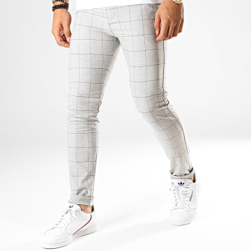 Classic Series - Pantalon Carreaux M-3151 Gris Chiné Noir