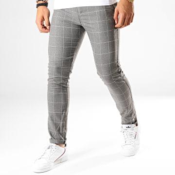 Classic Series - Pantalon Carreaux M-3150 Gris Chiné Blanc