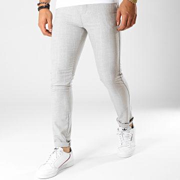 Classic Series - Pantalon Rayures M-3144 Gris Clair Chiné Blanc