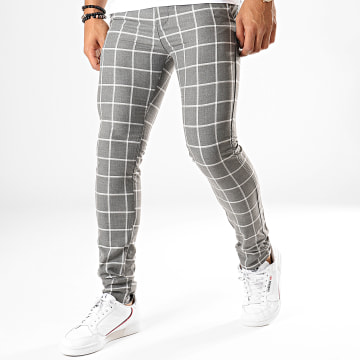 Classic Series - Pantalon Carreaux M-3143 Gris Chiné Blanc