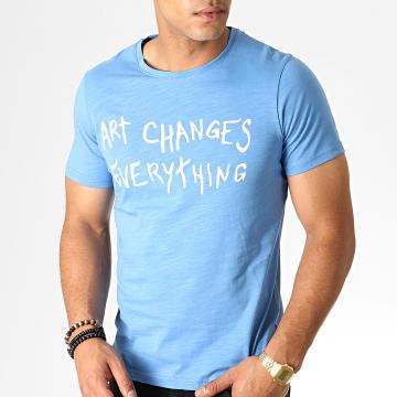 Armita - Tee Shirt TC-338 Bleu Chiné Blanc