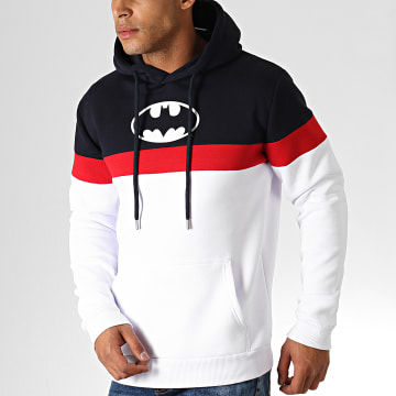 Sweat Capuche Batman Tape Tricolore Bleu Marine Blanc Rouge