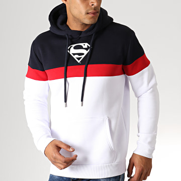 Sweat Capuche Superman Tape Tricolore Bleu Marine Blanc Rouge