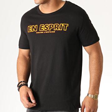 Tee Shirt En Esprit Noir Fluo Orange