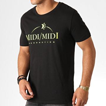 Tee Shirt Midi Midi Noir Fluo Jaune