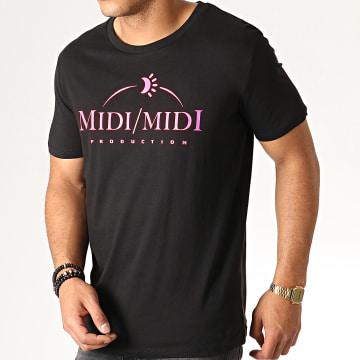 Tee Shirt Midi Midi Noir Fluo Rose