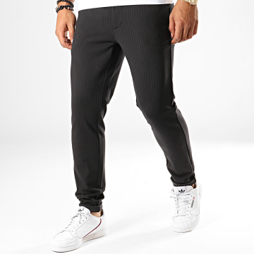 Only And Sons - Pantalon Chino A Rayures Mark Noir
