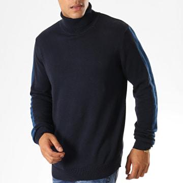 Pull Col Roulé A Bandes Matson Bleu Marine