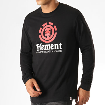 Element - Tee Shirt Manches Longues Vertical Noir Rouge Blanc