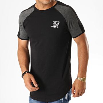 SikSilk - Tee Shirt Oversize A Bandes Contrast Panel 15070 Noir Gris Chiné