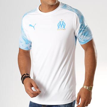 Tee Shirt De Sport OM Training Jersey 755828 Blanc Bleu Clair